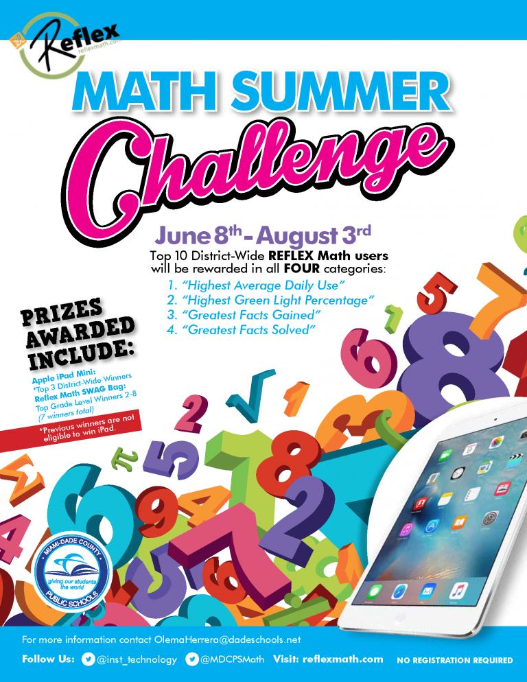 2018 Reflex Math Summer Challenge Flyer