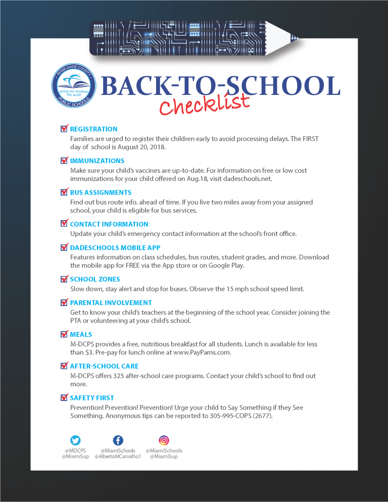 Back To School Checklist English